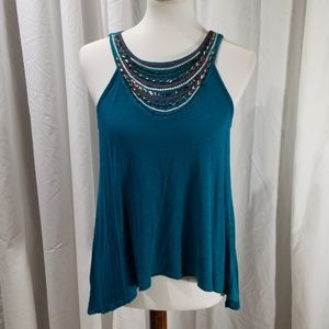 Jeweled & Embroidered Flowy Tank